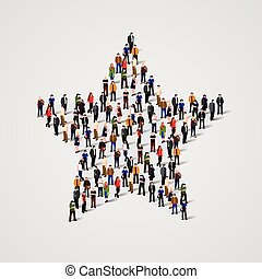 Big group of people standing in a star sign. Vector