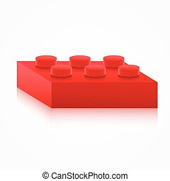Isometric colorful plastic building block. - Isometric...