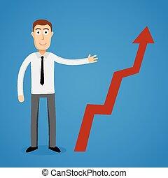 Business man present a growth chart.