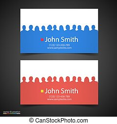 Vector business card with people silhouette. - Vector...
