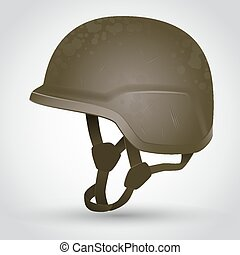 Army helmet - Camouflage Army helmet with scratches Vector...
