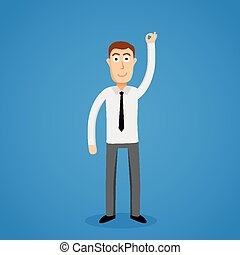 Satisfy business man and OK sign Vector illustration
