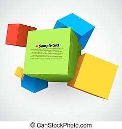 Colorful three dimensions cubes. - Colorful three dimensions...