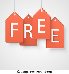 Four large orange tags with the word free. Vector...