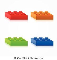 Isometric Colorful Plastic Building Blocks.
