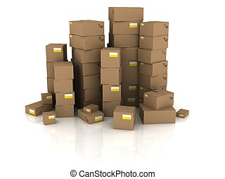 cartons - 3d rendered illustration from towers of boxes