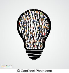 Group of people in bulb.