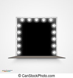 Mirror with bulbs for makeup. - Vector Illustration of...