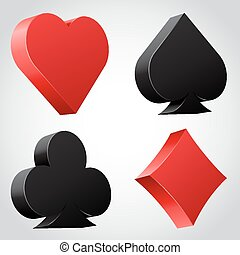 Set of 3d card suit icons in black and red vector...
