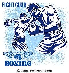 Boxing Match - Retro Illustration on grunge background -...
