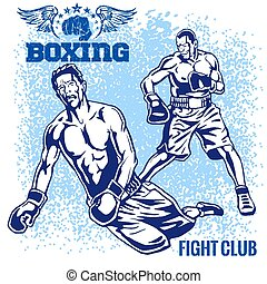 Boxing Match - Retro Illustration on grunge background -...