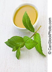 mint with olive oil