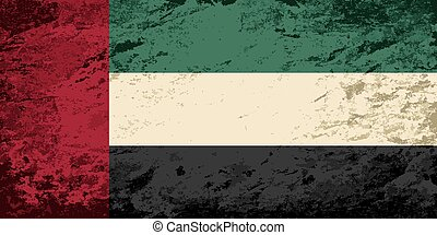 United Arab Emirates flag. Grunge background. Vector...