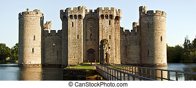 Historic Bodiam Castle and moat in East Sussex, England -...