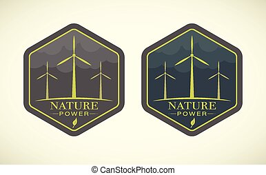 Vector illustration of wind turbines