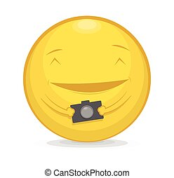 Vector illustration of emoticon with photo camera