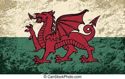Welsh flag Grunge background. Vector illustration Eps 8.