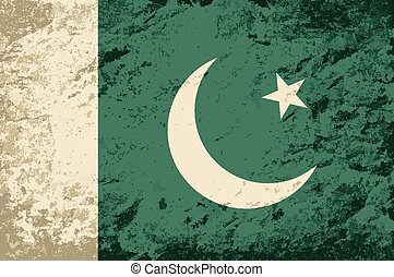 Pakistani flag Grunge background Vector illustration
