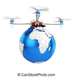 3d UAV drone with earth globe on white background
