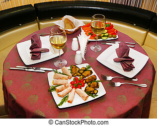 table setting in a restaurant - table setting in the...