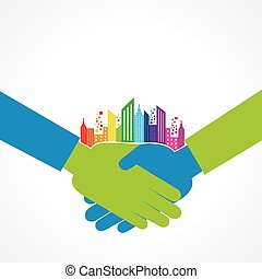 Colorful cityscape on business hand