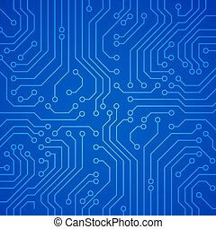 Vector circuit board or microchip. Blue vector background
