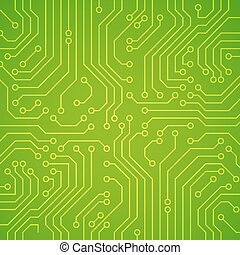 Vector circuit board or microchip. Green vector background