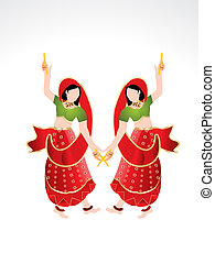 Traditional indian girl playing dandiya vector illustration
