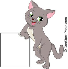 cute cat with blank sign