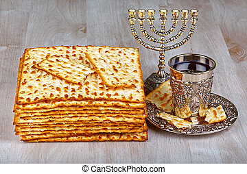 matzo with kiddush cup of wine - passover matzo with kiddush...