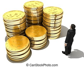 money and man - 3d rendered illustration of a man in front...