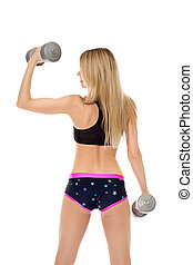 Rear view of slim blonde exercising with dumbbells