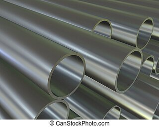 metal pipes - 3d rendered illustration of many metal tubes