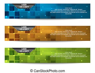 Web header or banner - Set of vector header or banner Design...
