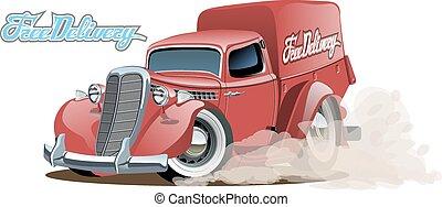 Cartoon retro delivery van - Vector cartoon delivery van....