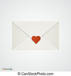 Letter with heart on white background.