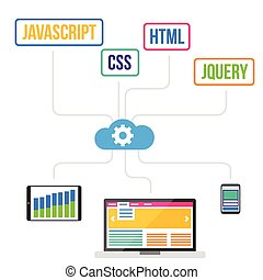 Web - Flat web development modern design concept vector...