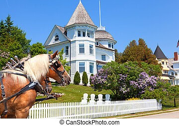 Wedding Cake Cottage on West Bluff Road - Mackinac Island -...