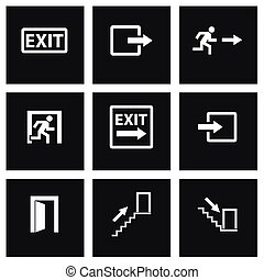 Vector black exit icon set on black background
