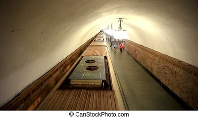 MOSCOW, RUSSIA, 13 AUGUST 2014, Daily life Moscow metro...