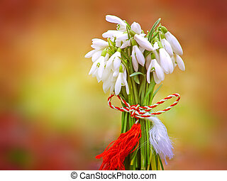 Snowdrops bouquet tied with a trinket