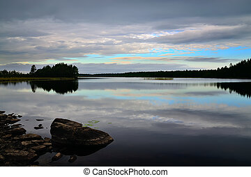 White nights Northern Karelia, Russia - Romantic sunset,...