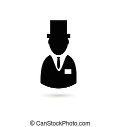 man with hat vector silhouette illustration