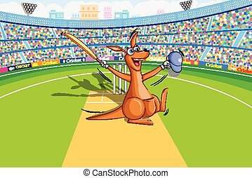 Kangaroo playing cricket - vector illustration of kangaroo...