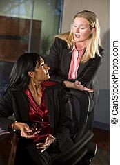 Two businesswomen conversing in boardroom