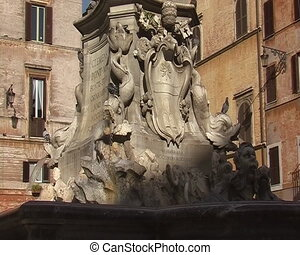Fountain at Rotonda plaza near Pantheon in Rome