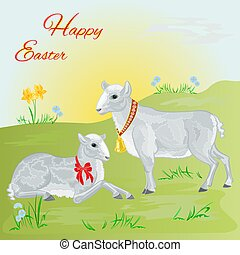 Easter lamb and sheep and daffodil Easter background place...