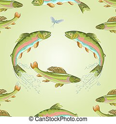 Seamless texture American trout and ephemera carnivore jumps...