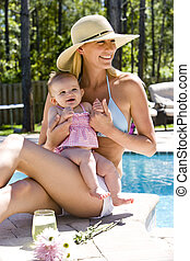 Mother relaxing with six month old baby next to a swimming pool