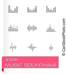 Vector music soundwave icon set on grey background